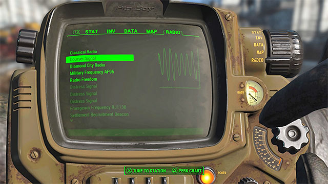 Select coursers radio frequency from the list of frequencies - Hunter Hunted - Main story - Fallout 4 Game Guide & Walkthrough