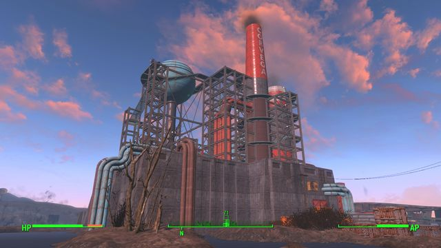 The building is a huge car factory that has been occupied by a group of several tens of bandits - Corvega Assembly Plant - Cambridge - Sector 5 - Fallout 4 Game Guide & Walkthrough