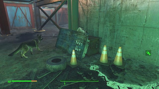 The safe has been well-hidden under a wooden plate - Corvega Assembly Plant - Cambridge - Sector 5 - Fallout 4 Game Guide & Walkthrough