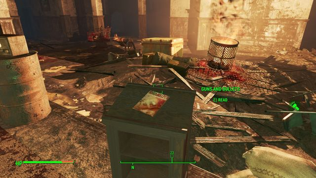 In the room, where there are enemies, there is a fire - Brotherhood Outpost 115 - Cambridge - Sector 5 - Fallout 4 Game Guide & Walkthrough