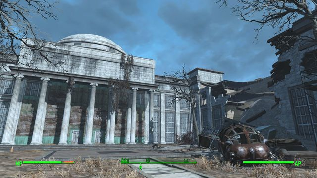 The huge collegiate building where, at the moment at which you walk in here, super mutants are fighting synths - C.I.T. Ruins - Cambridge - Sector 5 - Fallout 4 Game Guide & Walkthrough