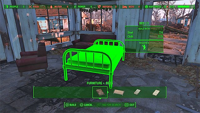 Each bed can be built only after youve collected 4 steel and 5 cloth (this rule will also apply to other projects described later in the text) - Sanctuary (Minutemen major quest) - Major quests for Minutemen faction - Fallout 4 Game Guide & Walkthrough