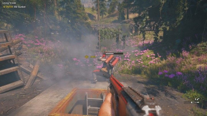 More enemies await you outside the bunker - a few of them are carrying a shield; one enemy uses a flamethrower - Losing Streak | Far Cry New Dawn Walkthrough - Story Missions - Far Cry New Dawn Guide
