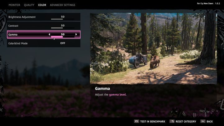 You can choose from the following options - Brightness Adjustment, Contrast, Gamma - System requirements of Far Cry New Dawn - Annex - Far Cry New Dawn Guide
