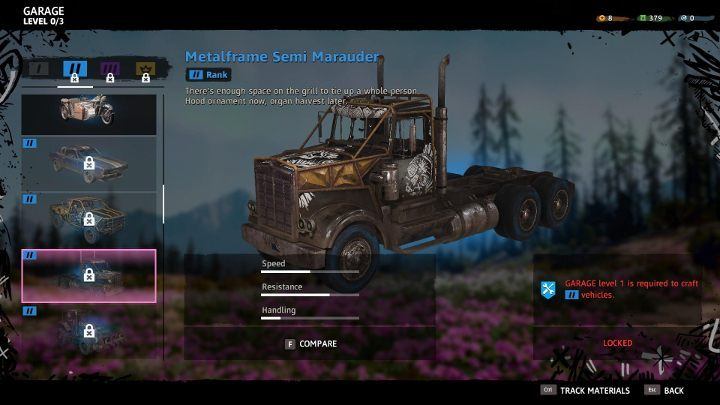 Vehicle Workbench allows you to make new vehicles. - Crafting in Far Cry New Dawn - Game basics - Far Cry New Dawn Guide