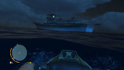 When you come close enough, make sure that there are no sharks in the water and cover the rest of the distance by swimming /diving, so that you are not noticed by your enemies onboard - Piece of the Past - Main missions - Far Cry 3 - Game Guide and Walkthrough