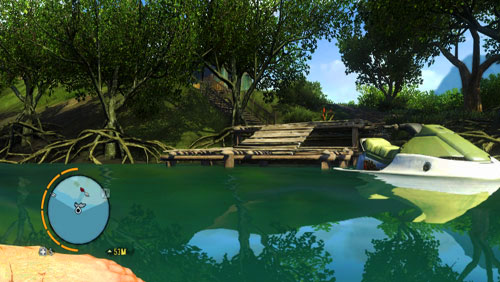 Once you reach the area, which is supposed to be occupied by the last target, get out of water near the pier shown in the screenshot - Dirty Work - Plot missions - Far Cry 3 - Game Guide and Walkthrough