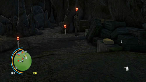 Once there, squeeze past the enemy shown in the screenshot, behind his back, and go over to the left side of the cave - Doppelganger - Main missions - Far Cry 3 - Game Guide and Walkthrough