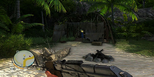 To the left of the shown fragments, you will find a shack made out of the plane fragments, which you need to enter - Pinned to Earth - Plot missions - Far Cry 3 - Game Guide and Walkthrough