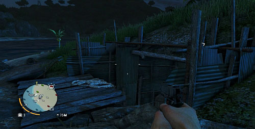 In the area marked with the red circle, you will find something looking like a trench, covered with a sheet of metal (the screenshot) - The Northern Island - South-western part - Cult Objects - Far Cry 3 - Game Guide and Walkthrough