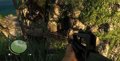 You will end up in front of the zip line stretched over to the cave entrance - The Northern Island - South-western part - Cult Objects - Far Cry 3 - Game Guide and Walkthrough