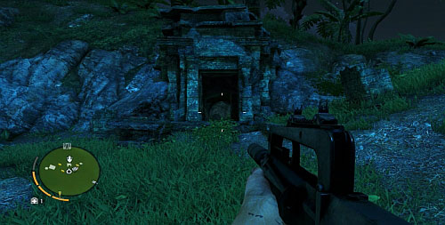 In the northern part, there is a place, where the slope is inclined at an angle that makes it possible to climb higher - The Northern Island - South-western part - Cult Objects - Far Cry 3 - Game Guide and Walkthrough
