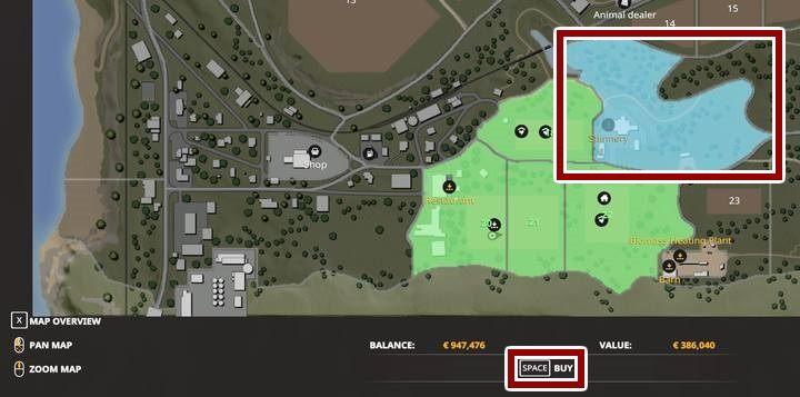 Pour acheter la parcelle de terrain appropriée, accédez à la vue cartographique - Comment acheter de nouveaux champs dans Farming Simulator 2019? - FAQ - Farming Simulator 19 - Guide et astuces