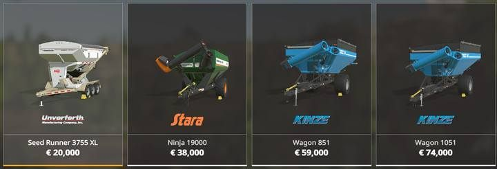 You can choose from four auger wagons with different capacity. - How to fill a vehicles tank in Farming Simulator 19? - FAQ - Farming Simulator 19 Guide and Tips