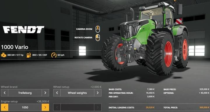 Fendt 1000 Vario. - Tractors and trucks available in Farming Simulator 19 - List of vehicles and machines - Farming Simulator 19 Guide and Tips