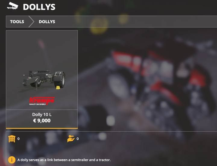 Dolly. - Tractors and trucks available in Farming Simulator 19 - List of vehicles and machines - Farming Simulator 19 Guide and Tips