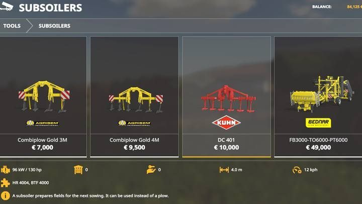 Subsoilers. - Machines for fieldwork available in Farming Simulator 19 - List of vehicles and machines - Farming Simulator 19 Guide and Tips