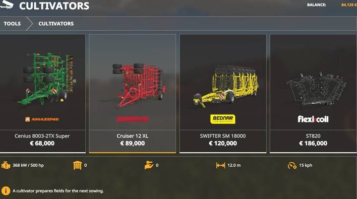 Cultivators. - Machines for fieldwork available in Farming Simulator 19 - List of vehicles and machines - Farming Simulator 19 Guide and Tips
