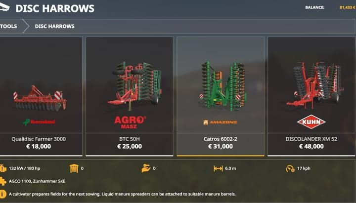 Harrows. - Machines for fieldwork available in Farming Simulator 19 - List of vehicles and machines - Farming Simulator 19 Guide and Tips