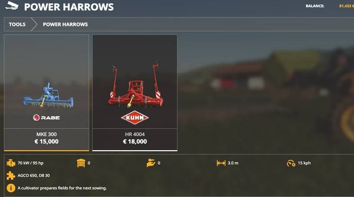 Power Harrows. - Machines for fieldwork available in Farming Simulator 19 - List of vehicles and machines - Farming Simulator 19 Guide and Tips