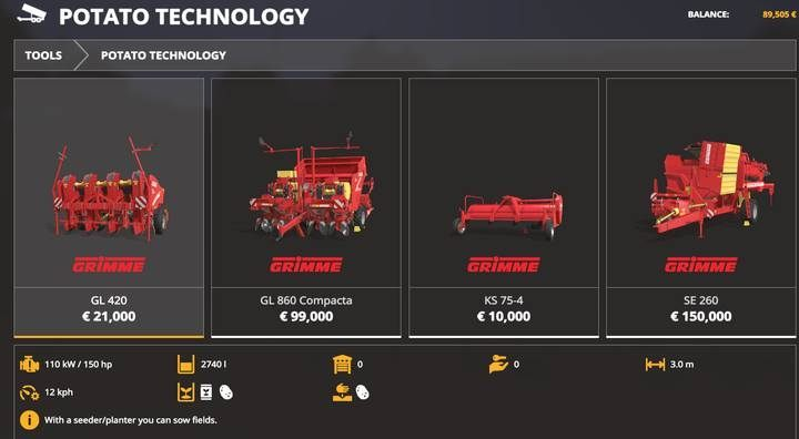 Potato planters. - Machines for fieldwork available in Farming Simulator 19 - List of vehicles and machines - Farming Simulator 19 Guide and Tips