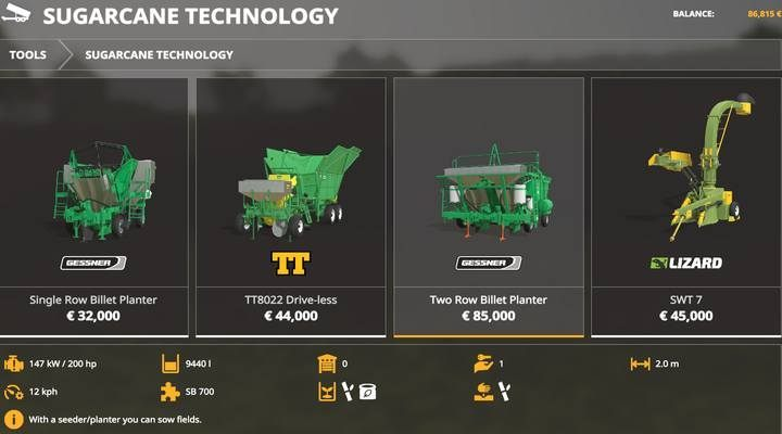 Sugarcane Planters. - Machines for fieldwork available in Farming Simulator 19 - List of vehicles and machines - Farming Simulator 19 Guide and Tips