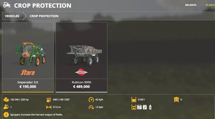 Vehicles: plant protection. - Machines for fieldwork available in Farming Simulator 19 - List of vehicles and machines - Farming Simulator 19 Guide and Tips