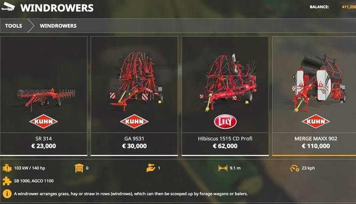 Windrowers. - Machines for grass and hay in Farming Simulator 19 - List of vehicles and machines - Farming Simulator 19 Guide and Tips