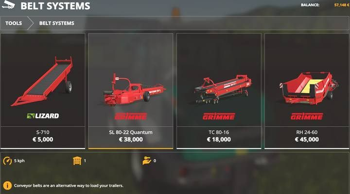 Belt systems. - Belt systems available in Farming Simulator 19 - List of vehicles and machines - Farming Simulator 19 Guide and Tips