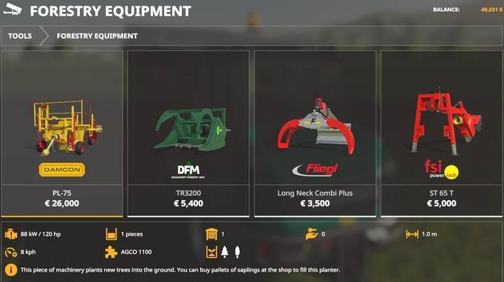 Forestry equipment. - Forestry equipment available in Farming Simulator 19 - List of vehicles and machines - Farming Simulator 19 Guide and Tips