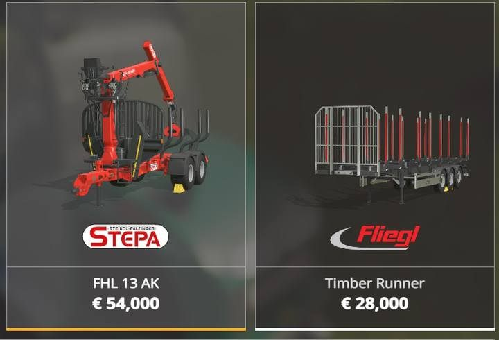 STEPA FHL 13 AK is also in Forestry Equipment category - this machine is a trailer with a crane that can load logs - Forestry equipment available in Farming Simulator 19 - List of vehicles and machines - Farming Simulator 19 Guide and Tips