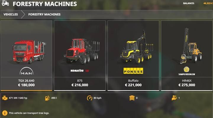 Forestry machines. - Forestry equipment available in Farming Simulator 19 - List of vehicles and machines - Farming Simulator 19 Guide and Tips