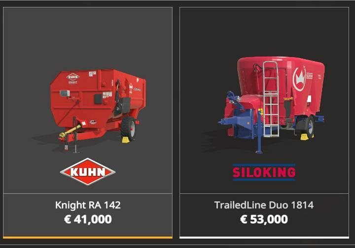 Two machines are used to prepare mixed feed for cows: KUHN Knight RA 142 and SILOKING TrailedLine Duo 1814 - Animal husbandry machines and vehicles in Farming Simulator 19 - List of vehicles and machines - Farming Simulator 19 Guide and Tips