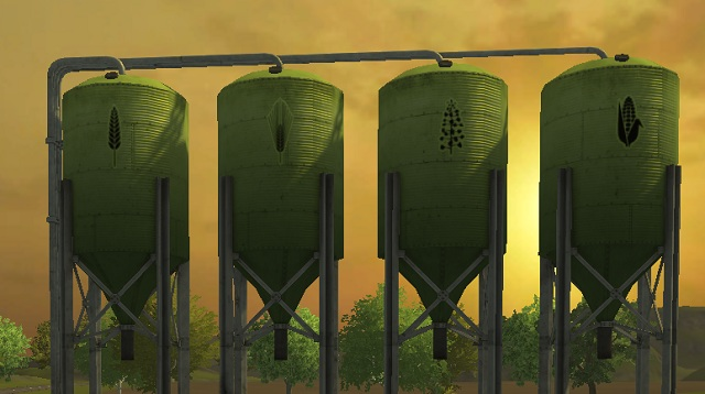 Grain silos. From left: wheat, barley, rapeseed and corn. - Locations and buildings - The basics - Farming Simulator 2013 - Game Guide and Walkthrough