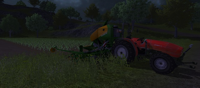 Corn fields at night. The plants are still small. - Growing corn - Agriculture - Farming Simulator 2013 - Game Guide and Walkthrough