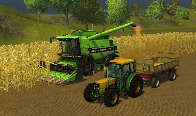 Same as with grains, we can unload the crops directly into a trailer. - Growing corn - Agriculture - Farming Simulator 2013 - Game Guide and Walkthrough