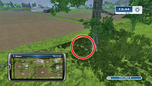 By a tree standing beside the road north of field 39 - Area A: horseshoes #1-#13 - Horseshoes - Farming Simulator 2013 - Game Guide and Walkthrough