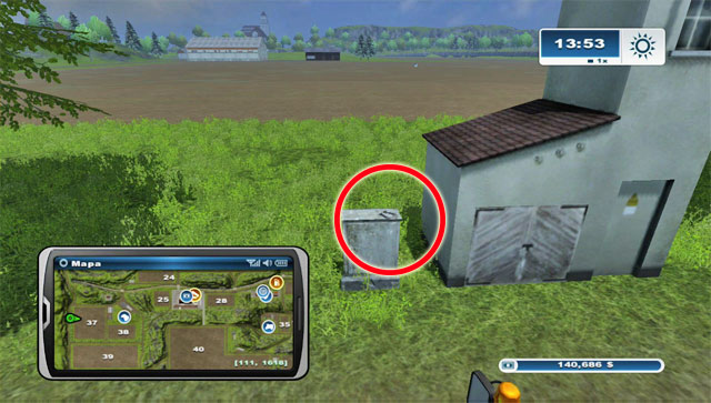 It's lying on a box west of field 37 - Area A: horseshoes #1-#13 - Horseshoes - Farming Simulator 2013 - Game Guide and Walkthrough