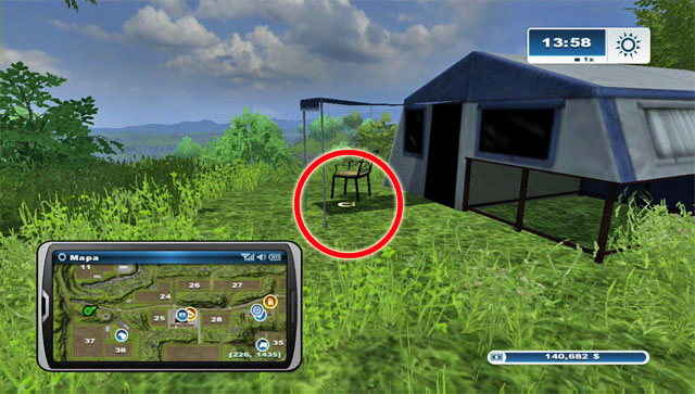 To the north of field 37, on a hill, there's a tent - Area A: horseshoes #1-#13 - Horseshoes - Farming Simulator 2013 - Game Guide and Walkthrough