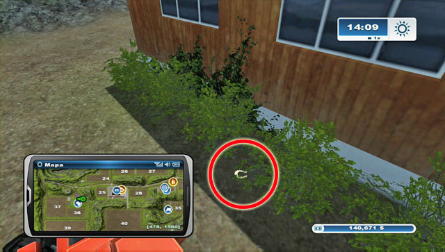 The horseshoe can be found in the bushes by the east wall of the buildings found by the sheep pasture - Area A: horseshoes #1-#13 - Horseshoes - Farming Simulator 2013 - Game Guide and Walkthrough