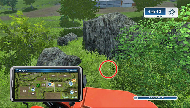Climb the hill north-east of where the sheep pasture is - Area A: horseshoes #1-#13 - Horseshoes - Farming Simulator 2013 - Game Guide and Walkthrough