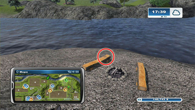 The horseshoe lies by a bonfire north-east of field 5 - Area G: horseshoes #74-#89 - Horseshoes - Farming Simulator 2013 - Game Guide and Walkthrough
