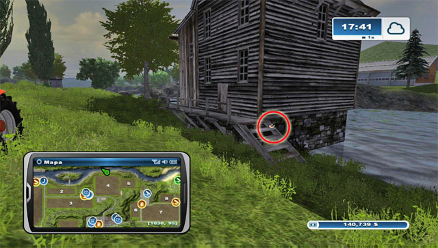 North of field 4, by the river, there's an old mill - Area G: horseshoes #74-#89 - Horseshoes - Farming Simulator 2013 - Game Guide and Walkthrough