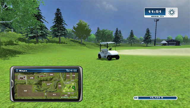 Once of the carts can be found in the middle of the golf course - Golf carts - Farming Simulator 2013 - Game Guide and Walkthrough
