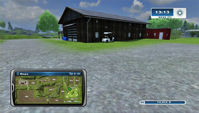 The third one is a bit to the west of the previous one on the parking - Golf carts - Farming Simulator 2013 - Game Guide and Walkthrough