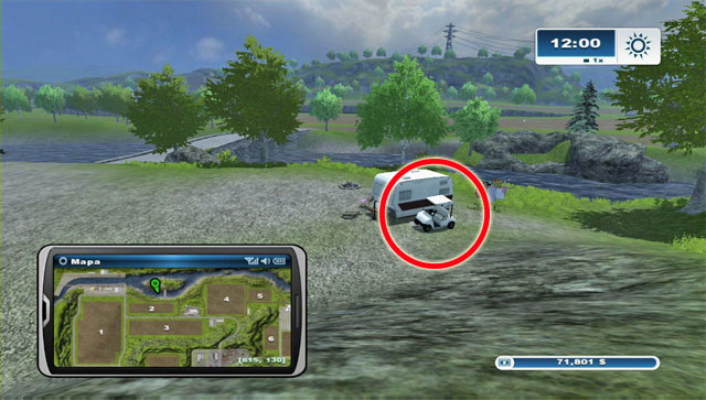 The last golf cart is in the north, on an island - Golf carts - Farming Simulator 2013 - Game Guide and Walkthrough