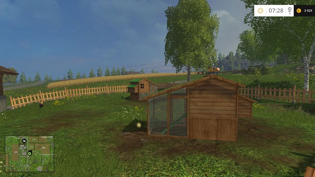 The chicken coop and a lonely rooster. - The farm - buildings and starting machines - Basics - Farming Simulator 15 Game Guide