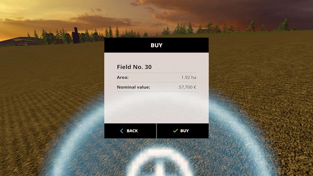 The field buying screen informs you about the price and the area. - Growing plants - preparation, harvest and selling - Basics - Farming Simulator 15 Game Guide