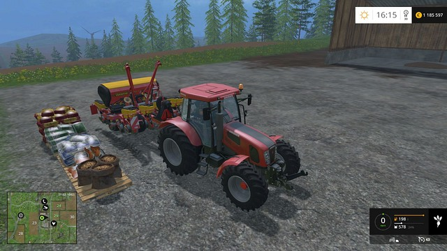 A sowing machine has to be refilled frequently. - Growing plants - preparation, harvest and selling - Basics - Farming Simulator 15 Game Guide