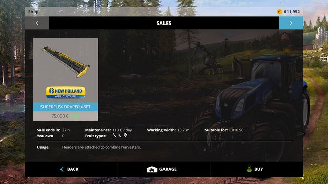 Checking the selling tab often, you can encounter interesting offers. - Buying and selling machines - Basics - Farming Simulator 15 Game Guide